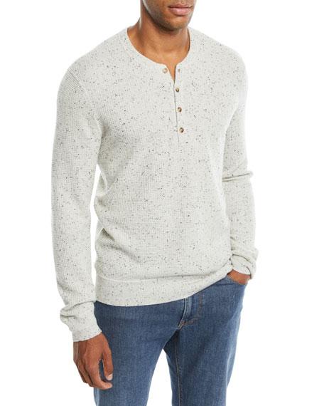 Neiman Marcus Men's Crewneck Speckled Cashmere Henley Sweater