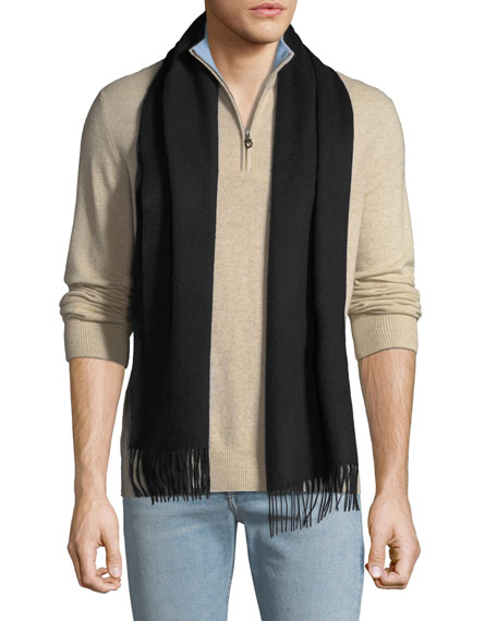 Image 4 of 4: Neiman Marcus Men's Cashmere Solid Fringe Scarf