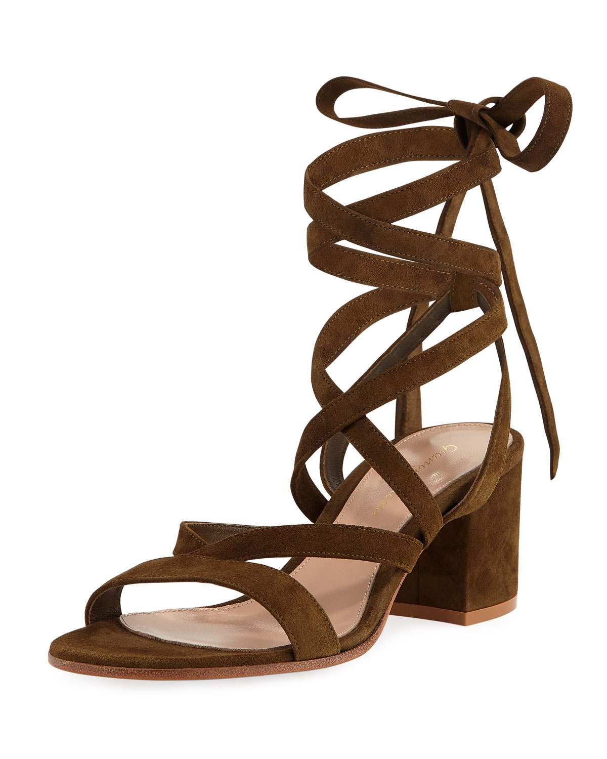 2d5dad05fc6 Gianvito Rossi Janis Low Suede Lace-Up Sandal