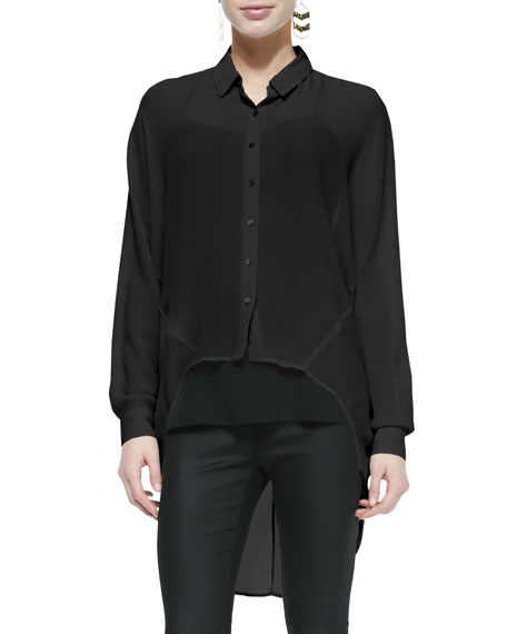Eileen Fisher Fisher Project Crinkled Crepe High-Low Shirt