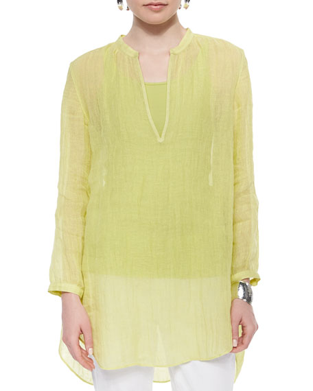 Eileen Fisher Long-Sleeve Split-Neck Tunic