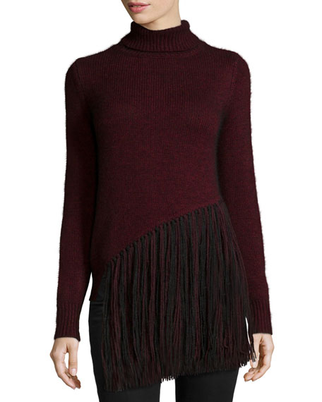 FalaLong-Sleeve Five-Gauge Turtleneck Sweater W/Fringe