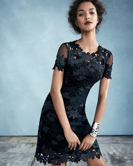 4719277c84c6 Elie Tahari Ophelia Short-Sleeve Lace Sheath Dress | Neiman Marcus