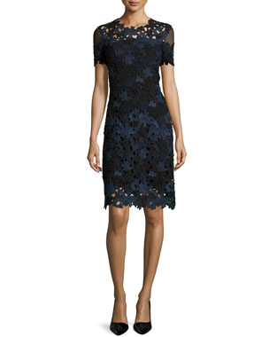 5463c0116622f Elie Tahari Ophelia Short-Sleeve Lace Sheath Dress