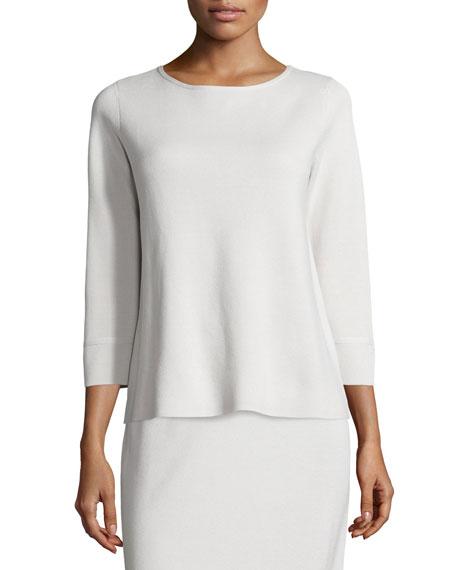 Eileen Fisher 3 4 Sleeve Silk Cotton Interlock Box Top