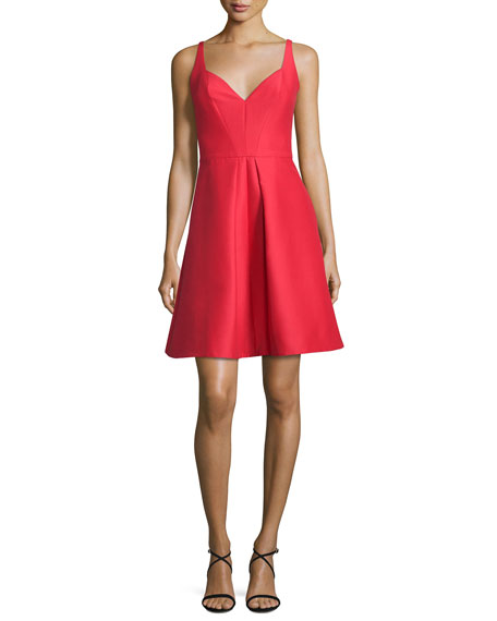 Sleeveless Pleated Structured Faille Cocktail Dress
