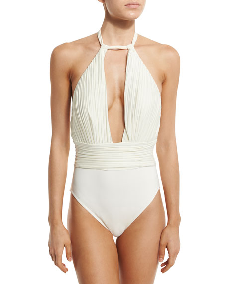 Pearl Goddess Halter One-Piece Swimsuit