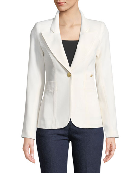 Duchess Single-Button Wool Blazer
