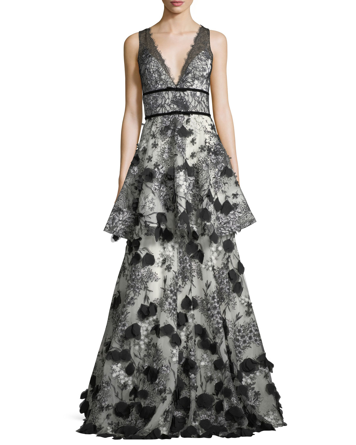 0dd97e05b5 Marchesa Notte Two-Tiered 3D Floral-Embellished Gown | Neiman Marcus