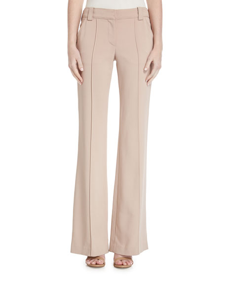 Lawrence Mid-Rise Wide-Leg Crepe Pants