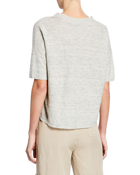 Eileen Fisher Plus Size Organic Linen Elbow-Sleeve Melange Sweater