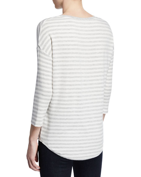 Majestic Filatures Striped V-Neck 3/4-Sleeve Sweater