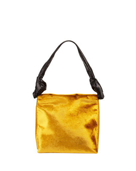 Image 1 of 3: Wander Small Velvet & Snakeskin Shoulder Bag