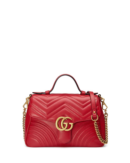 9dd61485af0018 GucciGG Marmont Small Chevron Quilted Top-Handle Bag with Chain Strap