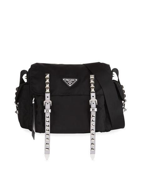 Black Nylon Messenger Bag With Studding