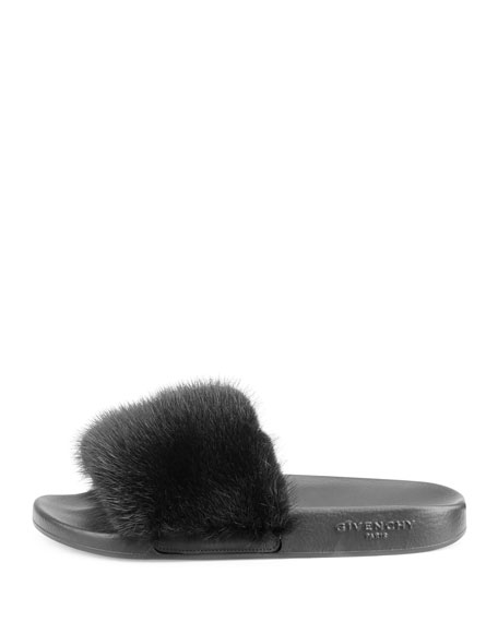 Image 3 of 3: Mink-Fur Flat Slide Sandal