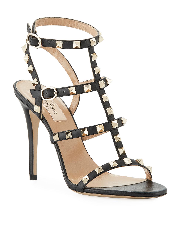 cbb54be607b6f Valentino Garavani Rockstud 105mm Caged Leather Sandals | Neiman Marcus