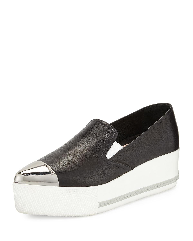 Toe Cap Leather Sneakers Miu Marcus Neiman Platform qgEZ75
