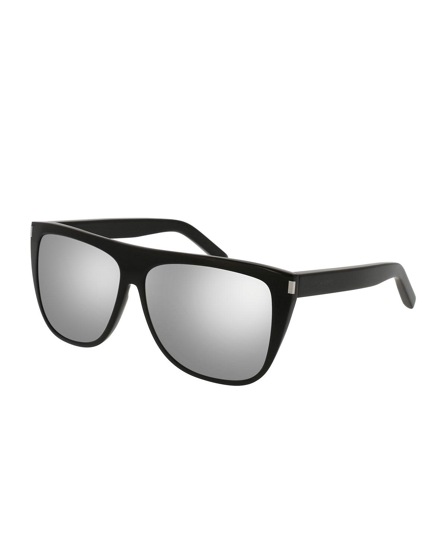 6fee32207747 Saint Laurent Mirrored Oversized Flat-Top Sunglasses | Neiman Marcus