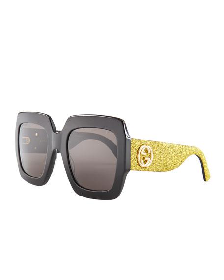 8f90ec781fb Gucci Glittered Square GG Sunglasses