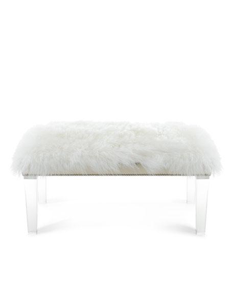 """Alala 40""""L Sheepskin Bench"""