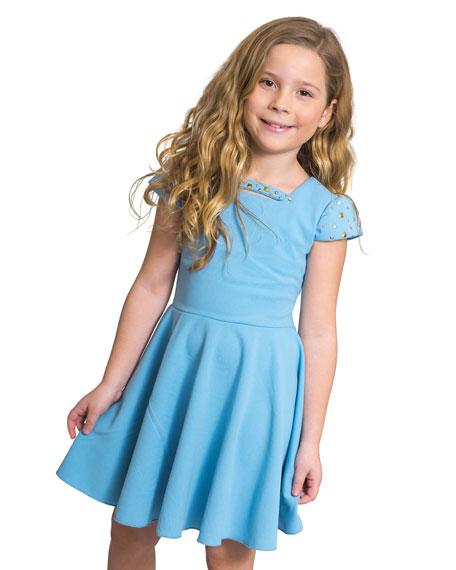Zoe Riley Studded Cap-Sleeve Swing Dress, Size 7-16