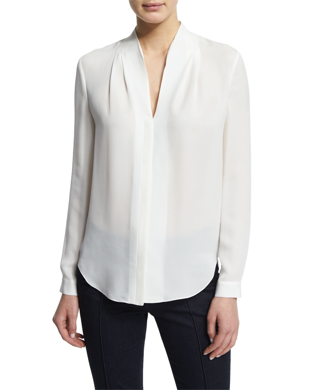 610c4ddf84c9f Elie Tahari Judith Long-Sleeve V-Neck Silk Blouse