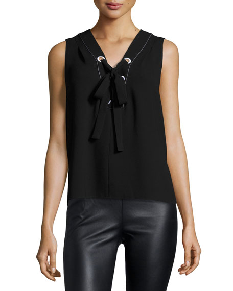 Marcia Sleeveless Lace-Up Crepe Top