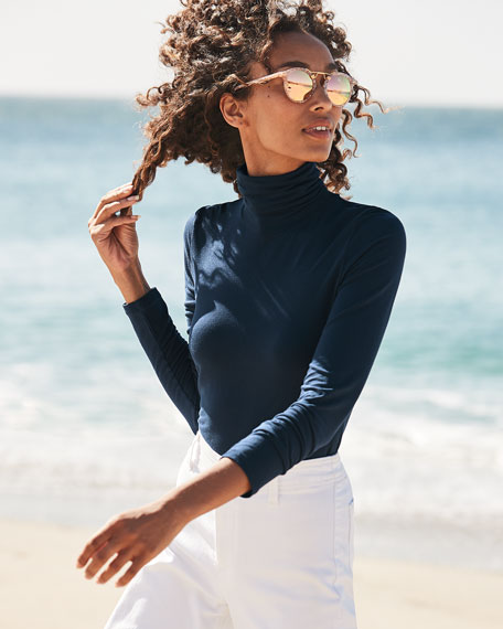 Image 2 of 5: Majestic Filatures Soft Touch Long-Sleeve Turtleneck