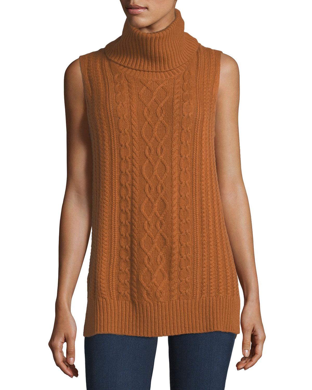 05f4833b010ff6 Neiman Marcus Cashmere Collection Cowl-Neck Cable-Knit Cashmere Vest ...
