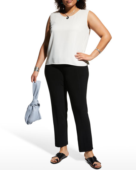 Caroline Rose Plus Size Crepe Suzette Scoop-Neck Tank with Side Slits