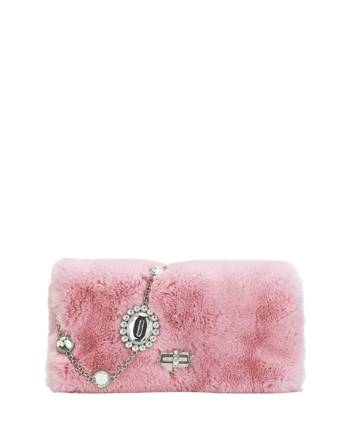 Miu Miu Jeweled Fur Chain Clutch Bag zvVItFbDnb