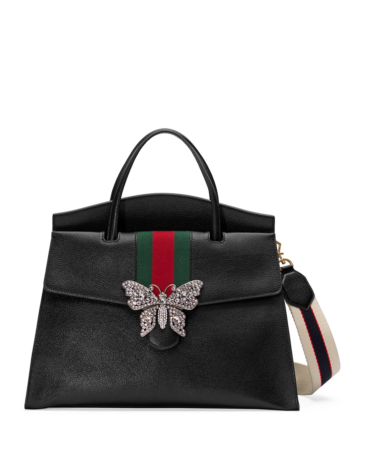 19629be2ec8 Gucci Linea Totem Large Leather Top-Handle Bag with Butterfly   Web Strap