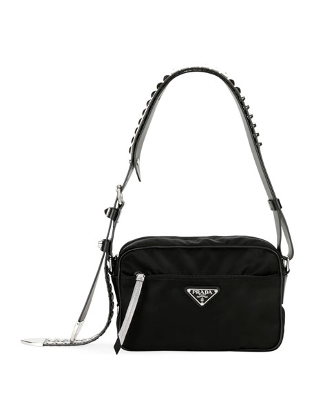 Image 1 of 4: Prada Black Nylon Shoulder Bag with Studding