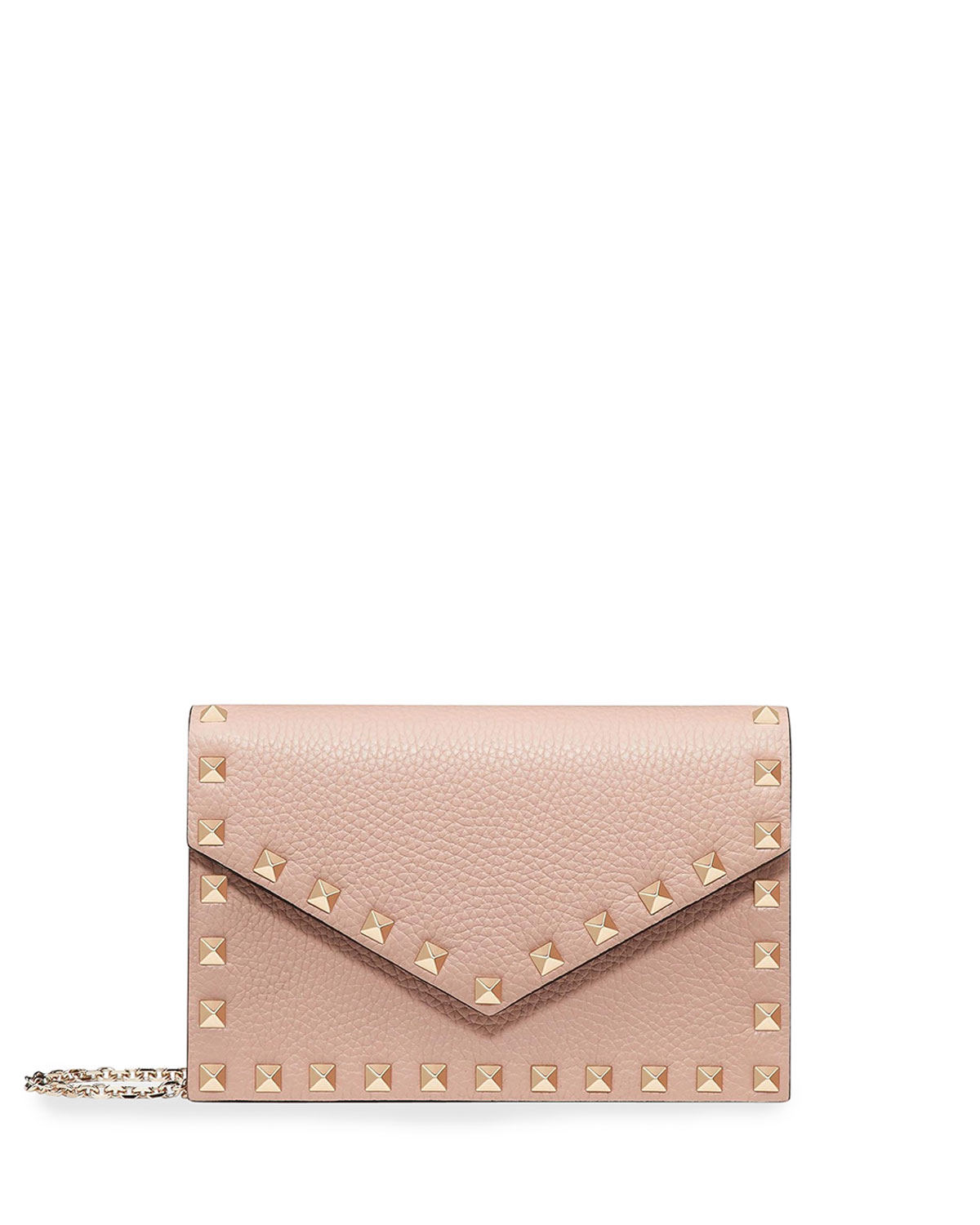 76008db1dd3 Rockstud Small Leather Flap Wallet on a Chain