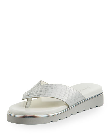 Leea Crocodile-Embossed Flip Flop