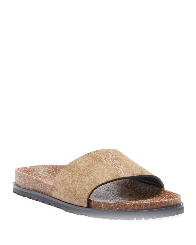 Saint Laurent Joan Noe Flat Suede Slide Sandals Neiman