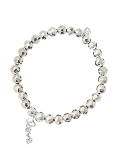 Sydney Evan 6mm Faceted Silver Pyrite Beaded Bracelet