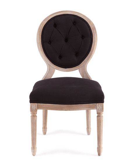 Black Linen Dining Chairs & Lisandra Antiqued-Mirrored Roung