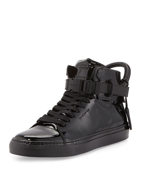 100mm Patent Leather High-Top Sneaker