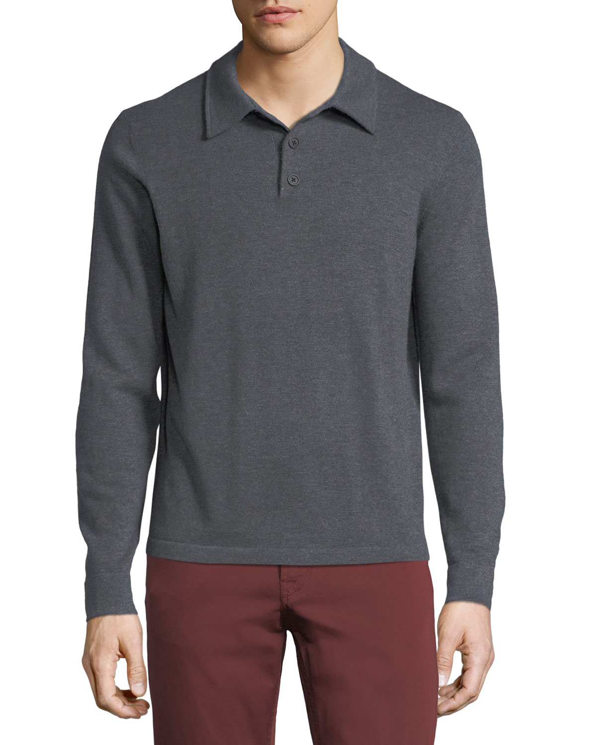 Neiman Marcus Cashmere Long Sleeve Polo Sweater Neiman