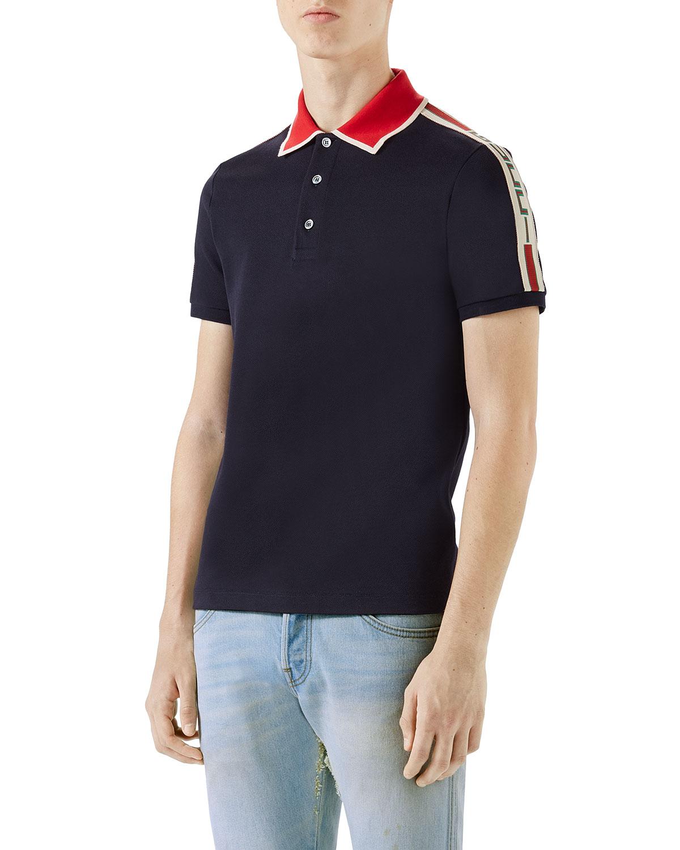 4dacade9145ee0 Gucci Contrast-Trim Polo Shirt