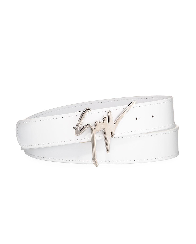 075bee9e47207 Giuseppe Zanotti Men's Signature Leather Logo Belt | Neiman Marcus