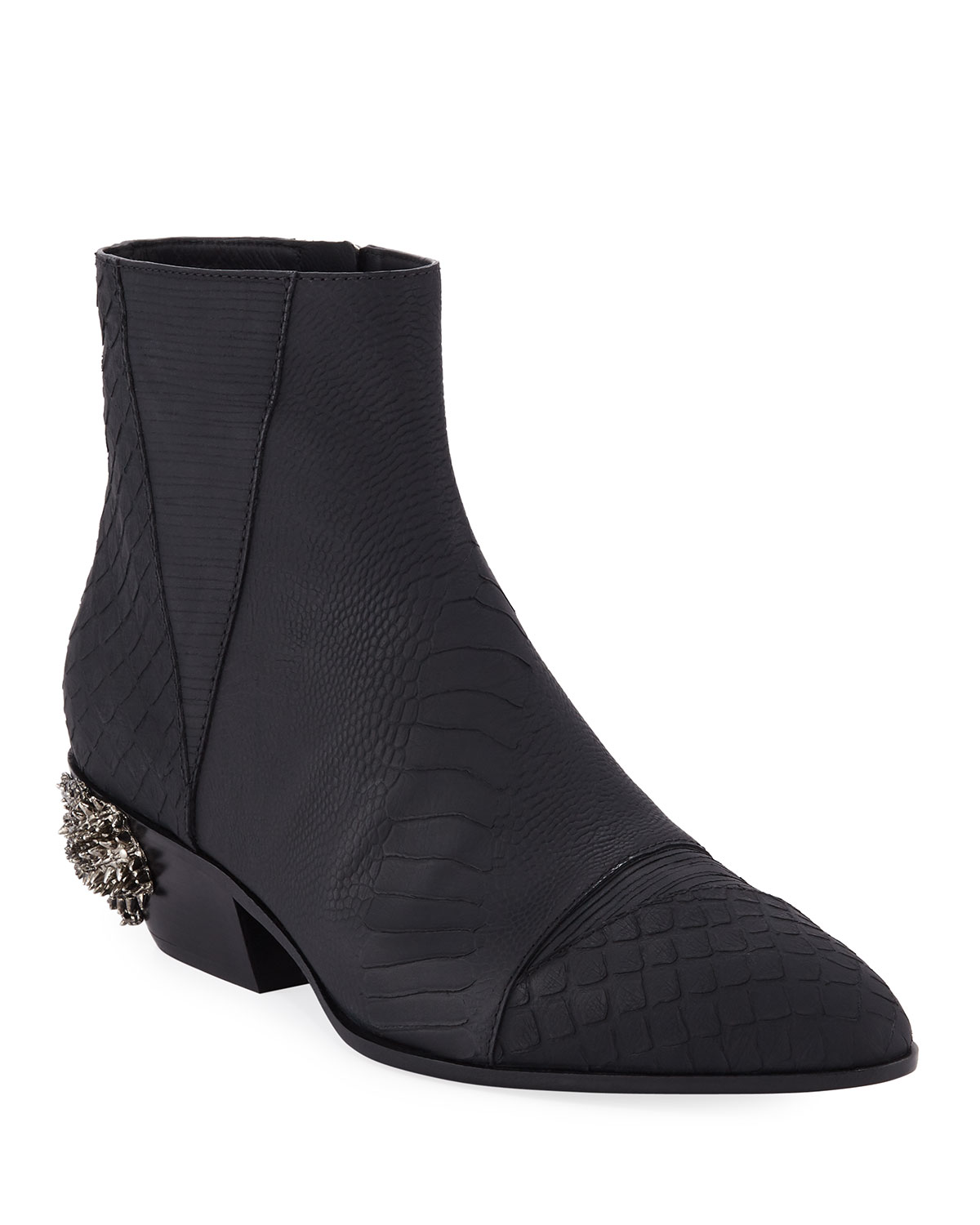 Dragon Embossed Leather Boots