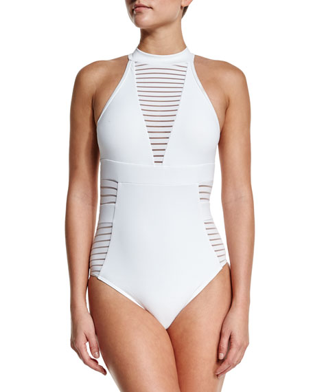 Ribbed High-Neck One-Piece Swimsuit