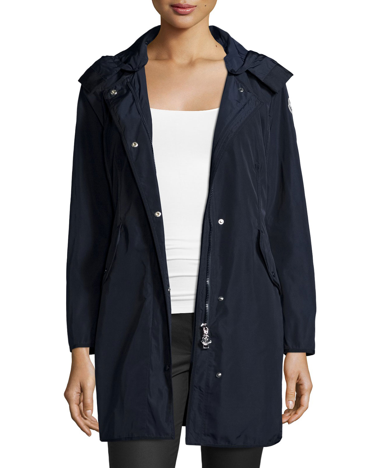 Moncler Argeline Long-Sleeve Zip-Front Coat
