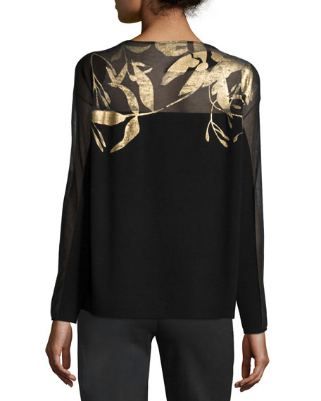 Semisheer Bateau-Neck Jacquard Lace Sweater, Black/Gold