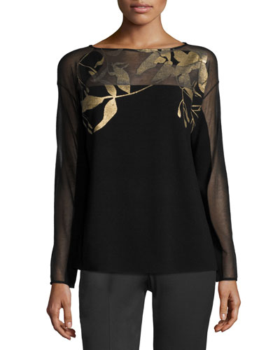 Semisheer Bateau-Neck Jacquard Lace Sweater, Black/Gold