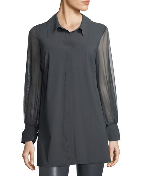 Chiara Boni La Petite Robe Cesarina Semisheer Long-Sleeve