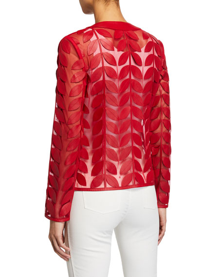 Image 3 of 3: Neiman Marcus Leather Collection Leather Leaf & Mesh Combo Jacket